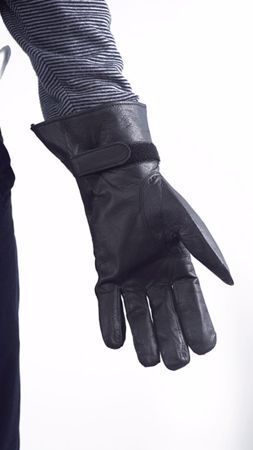 French Black Leather Gloves