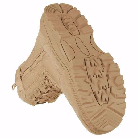 Khaki Tactical Boots With YKK Zipper